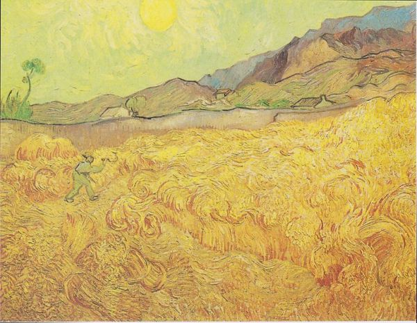 Wheat Field with Reaper (1889) by Vincent Van Gogh