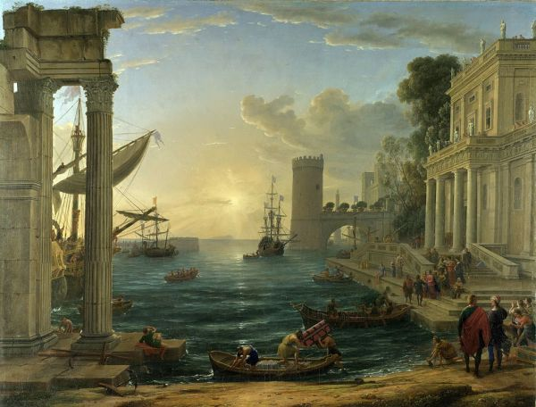 The Embarkation of the Queen of Sheba (1648) by Claude Lorrain (click to enlarge)
