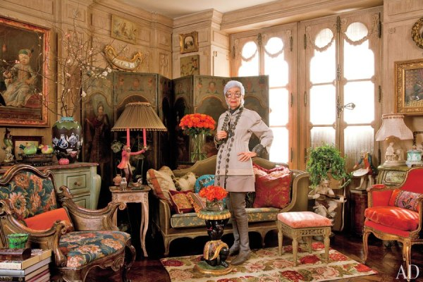 Iris Apfel in her fantastical apartment.