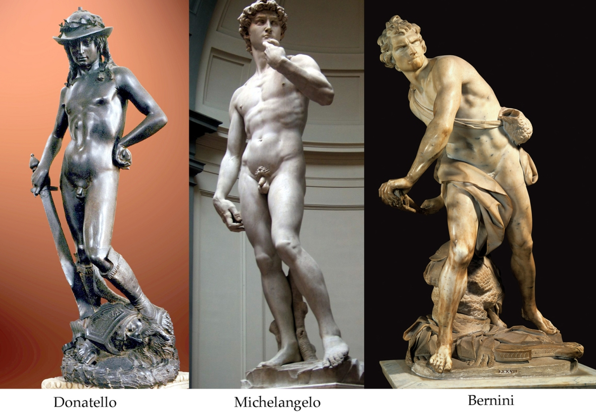 """david by michelangelo vs bernini In bernini's """"david"""" you can see that david is portrayed as a more naturalistic person, and not entirely idealized like michelangelo's """"david."""